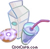 Glass of milk with milk carton and donut Vector Clipart illustration