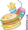 Hamburger with fries and soft drink Vector Clip Art picture