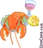 Lobster dinner with lemon slice and glass of wine Vector Clipart image