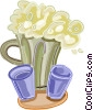Pitcher of beer with two glasses Vector Clip Art image