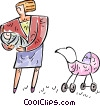 Vector Clip Art picture  of a Mother and baby with stroller