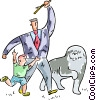 Vector Clipart image  of a Father and son playing fetch