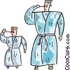 Father and son in their robes brushing their teeth Vector Clipart picture
