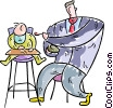 Vector Clipart graphic  of a Father feeding baby in a high