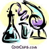 Beakers and test tubes Vector Clip Art graphic