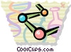 Molecules with beaker and DNA strand Vector Clipart picture