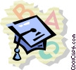 Vector Clipart picture  of a Graduation cap with alphabet