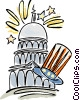Vector Clipart picture  of a Capitol Building with Uncle Sam's hat