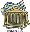 building in Greece with olive branch and flag Vector Clip Art graphic