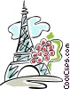 Eiffel tower and grapes Vector Clipart illustration