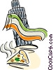 Vector Clipart graphic  of a tower of Pisa with slice of pizza