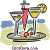 Tray of mixed drinks Vector Clipart illustration