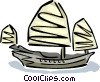 Vector Clip Art graphic  of an Asian fishing boat