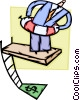 man with life preserver on diving board Vector Clip Art image