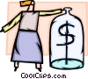 Woman with money jar Vector Clipart picture