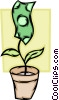 Potted money flower Vector Clipart illustration