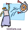 Woman throwing darts Vector Clipart illustration