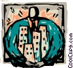 man holding apartment buildings in his arms Vector Clip Art picture