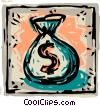 Framed money bag Vector Clipart picture