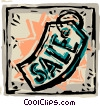 Vector Clipart picture  of a Framed sale tag