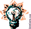 Vector Clip Art graphic  of a Colorful light bulb