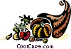 Vector Clip Art graphic  of a Cornucopia filled with fruits