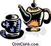 Teapot and teacup Vector Clip Art graphic