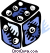 Vector Clip Art image  of a Colorful dice