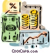 Dollar bills and coins with chart Vector Clip Art graphic
