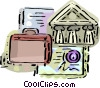 Bank symbol with briefcase and certificate Vector Clip Art picture