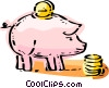 Piggy Bank and coins Vector Clip Art graphic