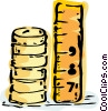 Stack of coins and ruler Vector Clipart illustration