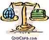 Financial scale with globe and money Vector Clip Art graphic