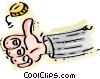 Person flipping coin Vector Clipart image