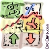 Financial chart with currency symbols Vector Clipart picture