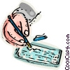 Man writing a check Vector Clipart graphic