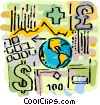 planet earth with currency symbols and money Vector Clipart graphic