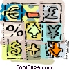 with currency symbols and money Vector Clip Art picture