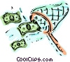 Financial Concepts net catching dollars Vector Clipart graphic