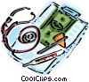 Medical clipboard with money, stethoscope, and thermometer Vector Clipart image