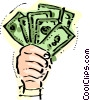 Handful of dollars Vector Clip Art graphic