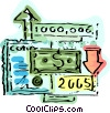 Financial Concept with dollars and charts Vector Clipart illustration