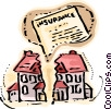 House split in two with insurance Vector Clipart graphic