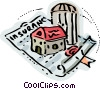 Farm house with insurance policy Vector Clip Art picture