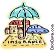 House and car insurance protection Vector Clip Art image