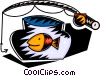 Fishing rod and gold fish bowl Vector Clip Art graphic