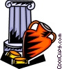 Vector Clip Art graphic  of a Pedestal with vase and coins