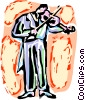 Violinists playing Vector Clipart picture