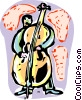 Vector Clip Art image  of a Bass Players