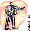 Rock Musician playing guitar Vector Clip Art graphic